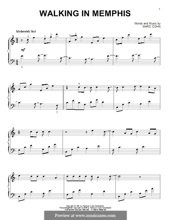 Walking in Memphis: For piano by Marc Cohn