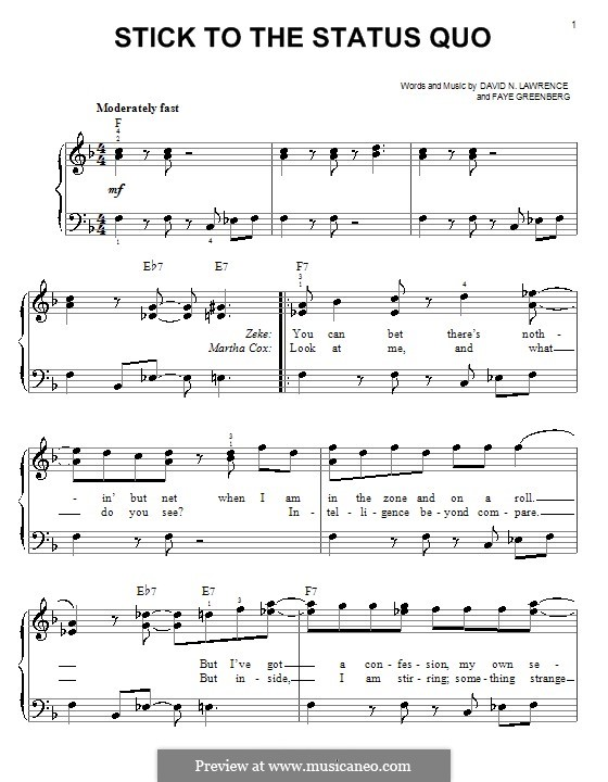 Stick to the Status Quo (High School Musical): For easy piano by David N. Lawrence, Faye Greenberg