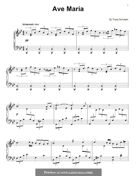 Ave Maria (Printable Scores), D.839 Op.52 No.6: For piano by Franz Schubert