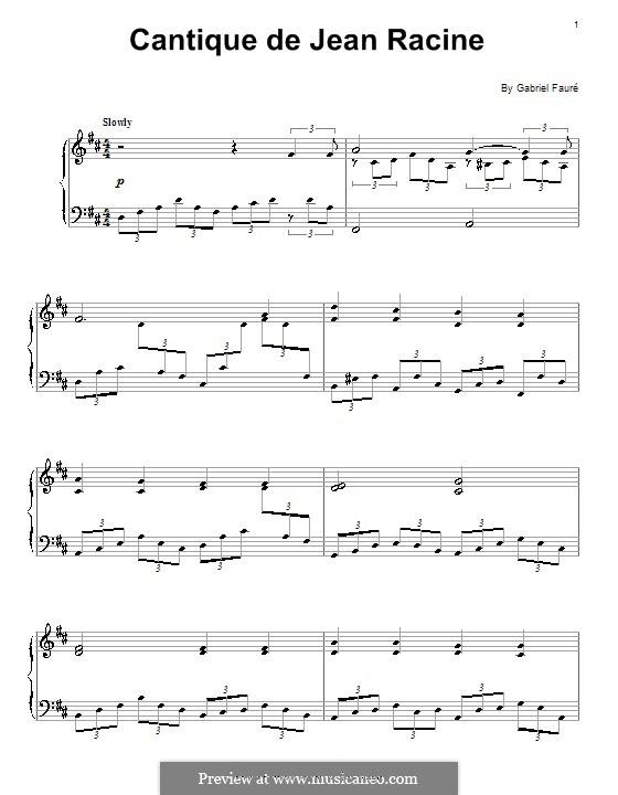 Cantique de Jean Racine, Op.11: For piano (high quality sheet music) by Gabriel Fauré