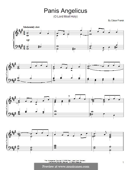 Panis Angelicus (O Lord Most Holy), Printable Scores: For piano (A Major) by César Franck