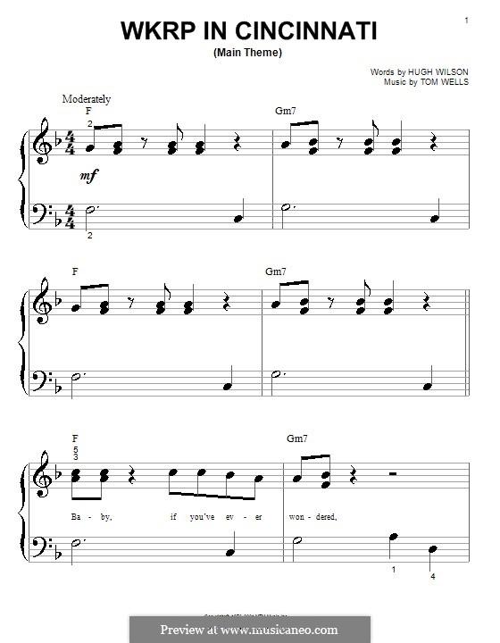 WKRP in Cincinnati: For piano (very easy version) by Tom Wells