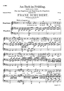 Am Bach im Frühling (By the Brook in Spring), D.361 Op.109 No.1: Piano-vocal score by Franz Schubert