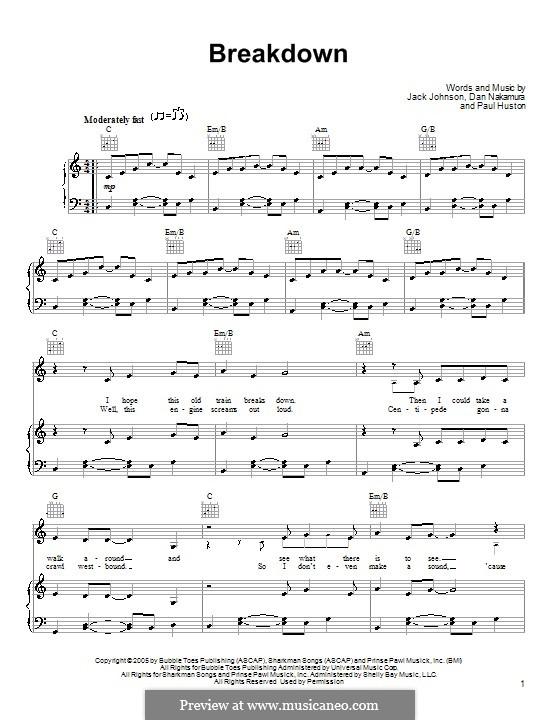 Breakdown (Jack Johnson): For voice and piano (or guitar) by Daniel Nakamura, Paul Huston