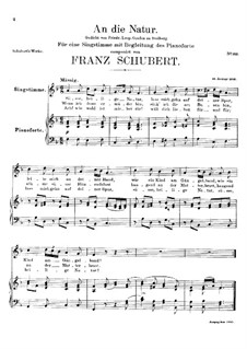 An die Natur (To Nature), D.372: F Major by Franz Schubert
