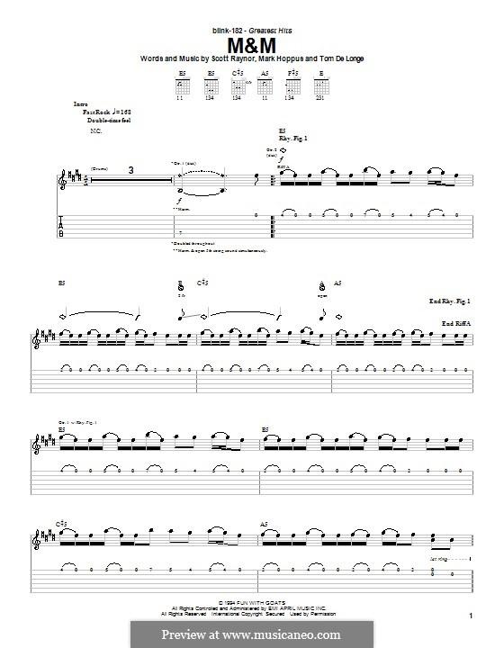 M&M (Blink-182): For guitar with tab by Mark Hoppus, Scott Raynor, Tom DeLonge