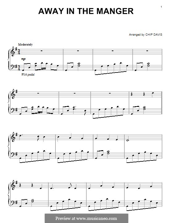 Away in a Manger: For piano by folklore