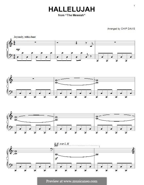 No.44 Hallelujah: For piano (C Major) by Georg Friedrich Händel