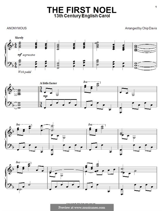The First Nowell (The First Noël), for Piano: Version by Davis by folklore