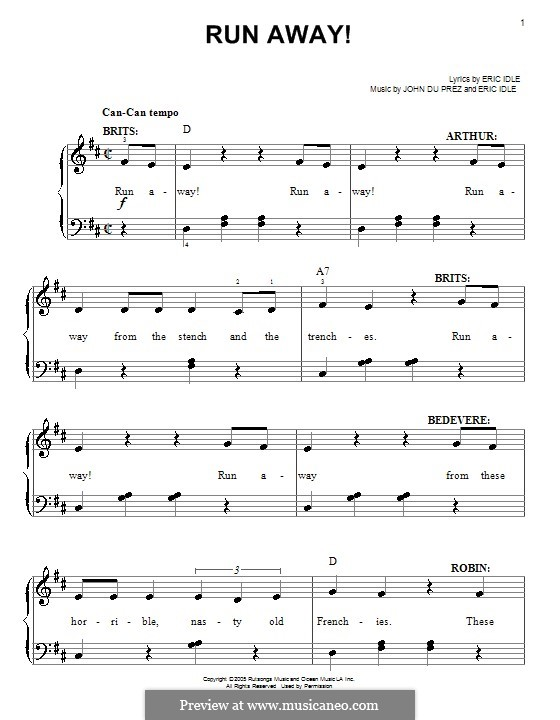 Run Away! (from Monty Python's Spamalot): For easy piano by Eric Idle, John Du Prez