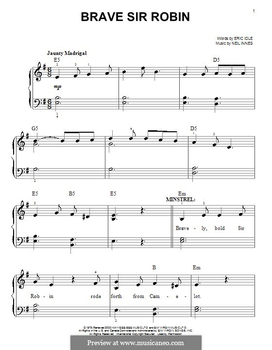 Brave Sir Robin (from Monty Python's Spamalot): For easy piano by Neil Innes