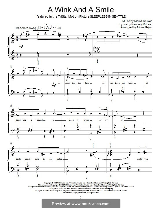 A Wink and a Smile (from Sleepless in Seattle): For piano by Marc Shaiman