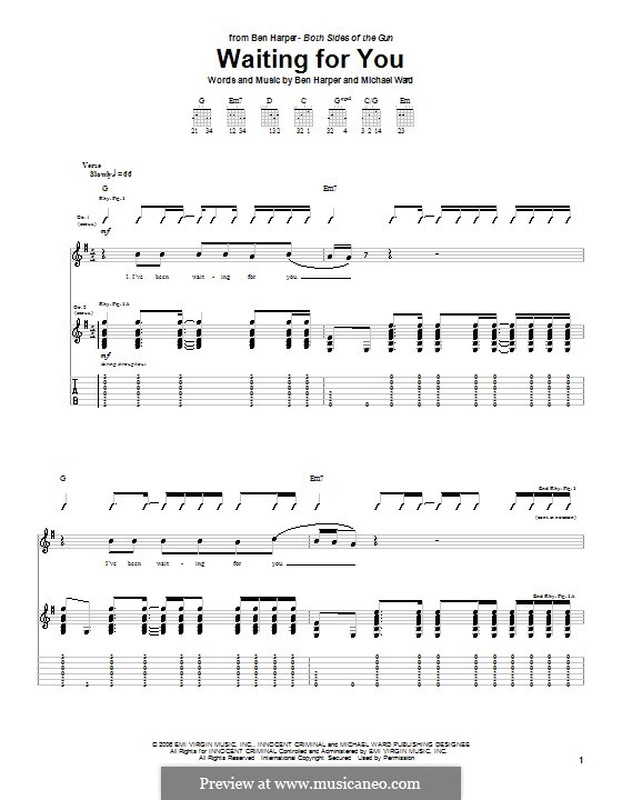 Waiting for You: For guitar with tab by Michael Ward
