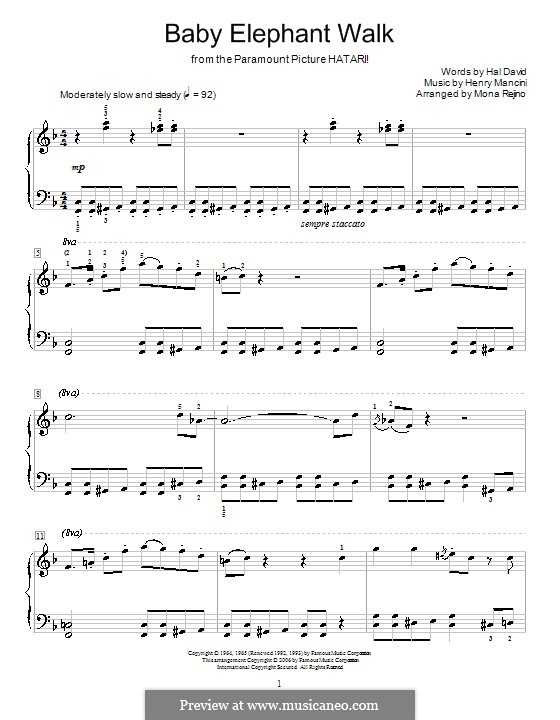 Baby Elephant Walk: For piano by Henry Mancini