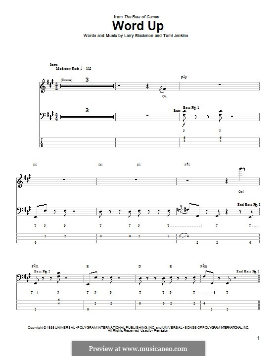 Word Up (Cameo): For bass guitar with tab by Larry Blackmon, Tomi Jenkins