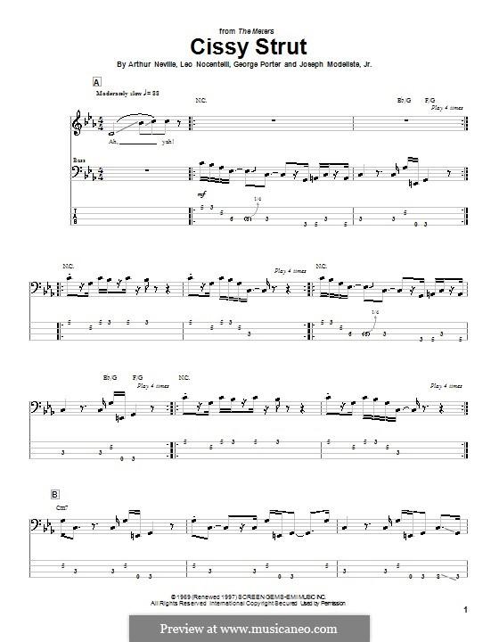 Cissy Strut (The Meters): For bass guitar with tab by Arthur Neville, George Porter, Joseph Modeliste Jr., Leo Nocentelli