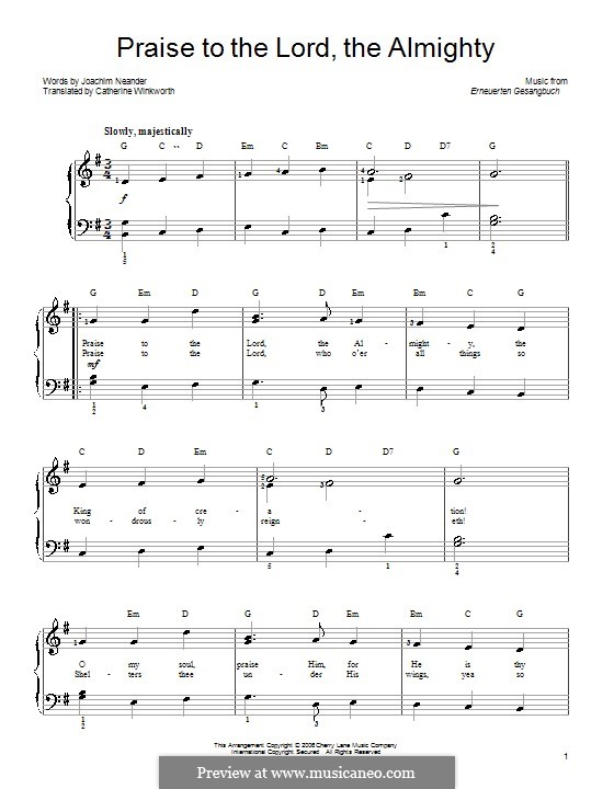 Praise to the Lord, the Almighty: For easy piano by Unknown (works before 1850)