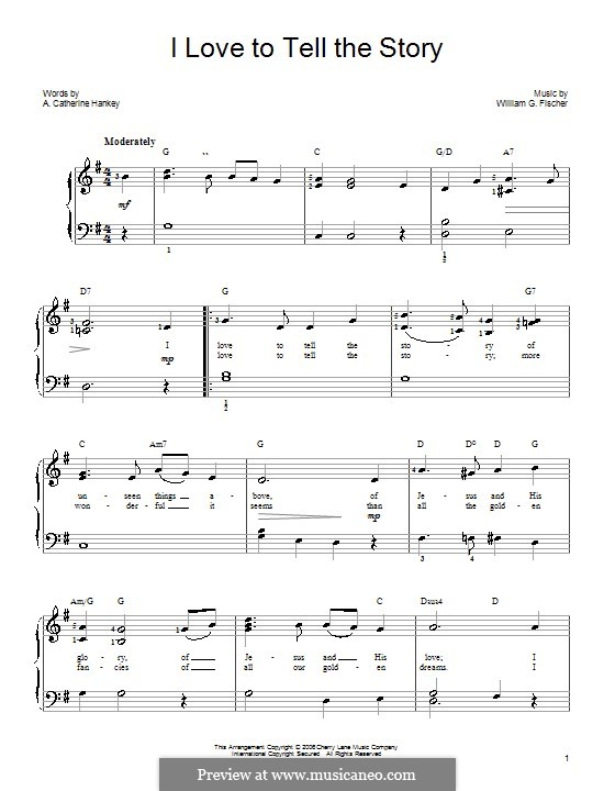 I Love to Tell the Story: For easy piano by William G. Fischer