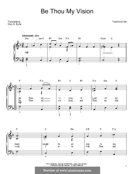 Be Thou My Vision (Printable scores): For easy piano by folklore