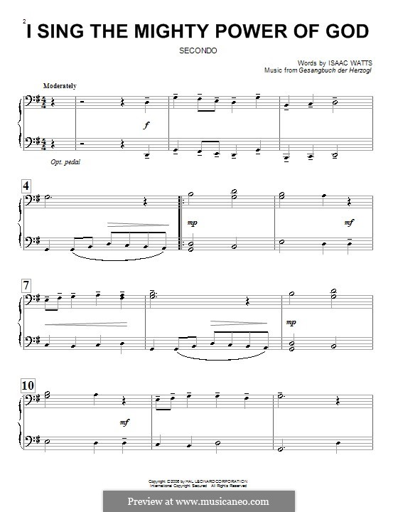I Sing the Mighty Power of God: For piano four hands by folklore