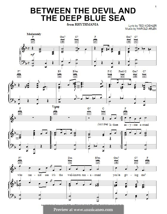 Between the Devil and the Deep Blue Sea: For voice and piano or guitar (Louis Armstrong) by Harold Arlen