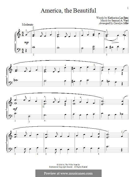 America the Beautiful: For piano by Samuel Augustus Ward