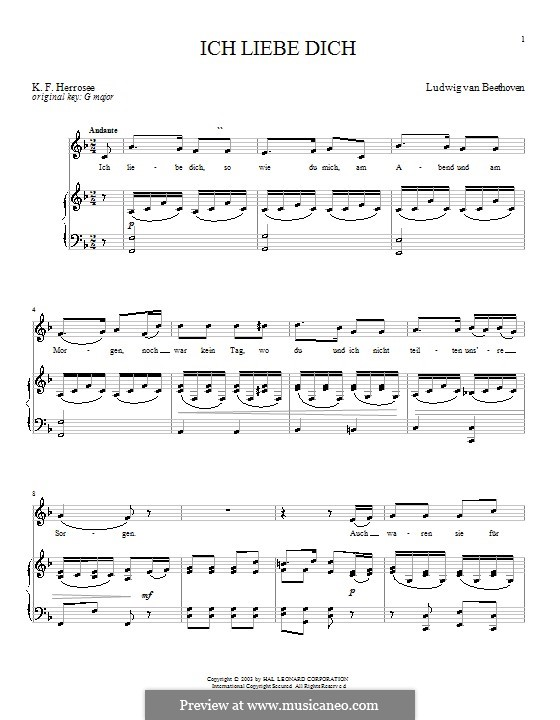 Ich liebe dich (I Love Thee), WoO 123: Piano score with vocal part by Ludwig van Beethoven