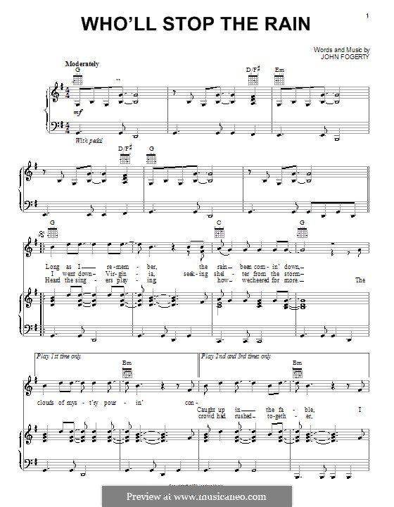 Who'll Stop the Rain (Creedence Clearwater Revival): For voice and piano (or guitar) by John C. Fogerty