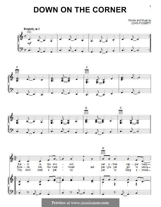Down on the Corner (Creedence Clearwater Revival): For voice and piano (or guitar) by John C. Fogerty