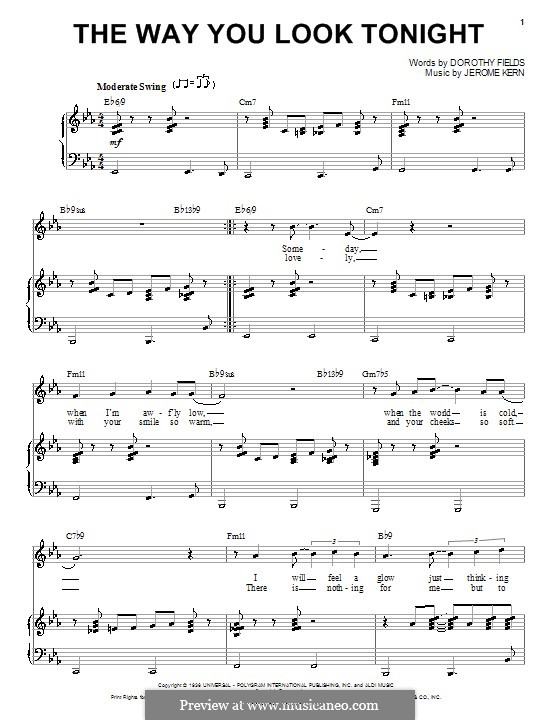 The Way You Look Tonight: For voice and piano or guitar (Frank Sinatra) by Jerome Kern