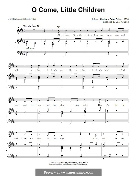 O Come, Little Children: For voice and piano (or guitar) by Johann Abraham Schulz