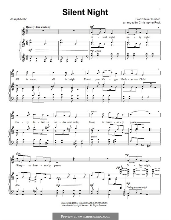 Silent Night (Printable): For voice and piano or guitar (C Major) by Franz Xaver Gruber