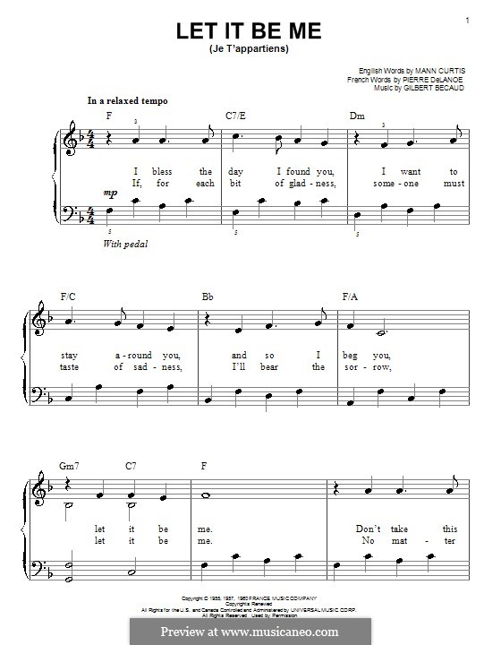 Let It Be Me (Je T'appartiens): For easy piano by Gilbert Becaud, Manny Kurtz, Pierre Delanoe