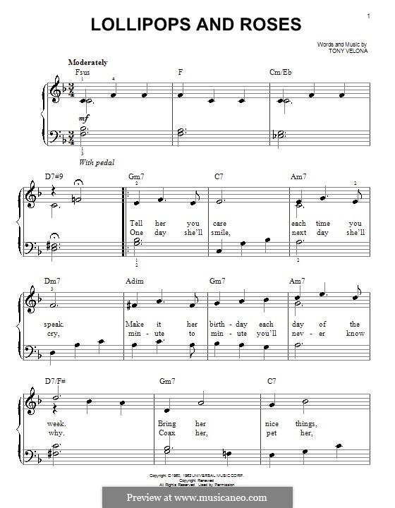 Lollipops and Roses (Jack Jones): For easy piano by Tony Velona
