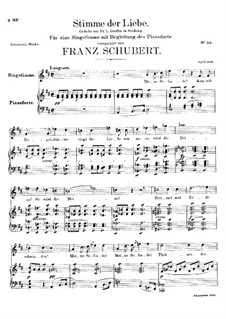 Stimme der Liebe (Voice of Love), D.412: For voice and piano by Franz Schubert