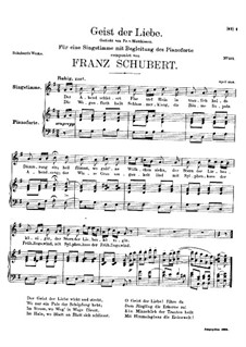 Geist der Liebe (Spirit of Love), D.414: For voice and piano (G Major) by Franz Schubert