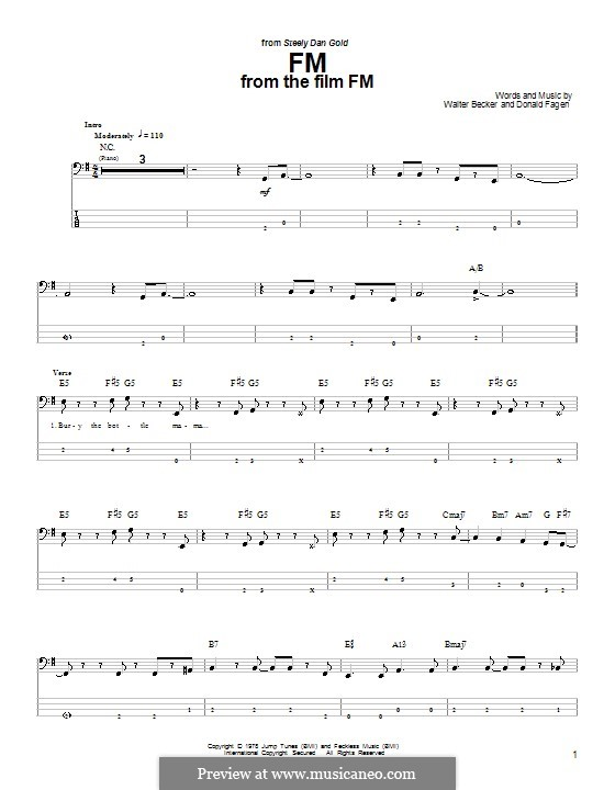 FM (Steely Dan): For bass guitar with tab by Donald Fagen, Walter Becker