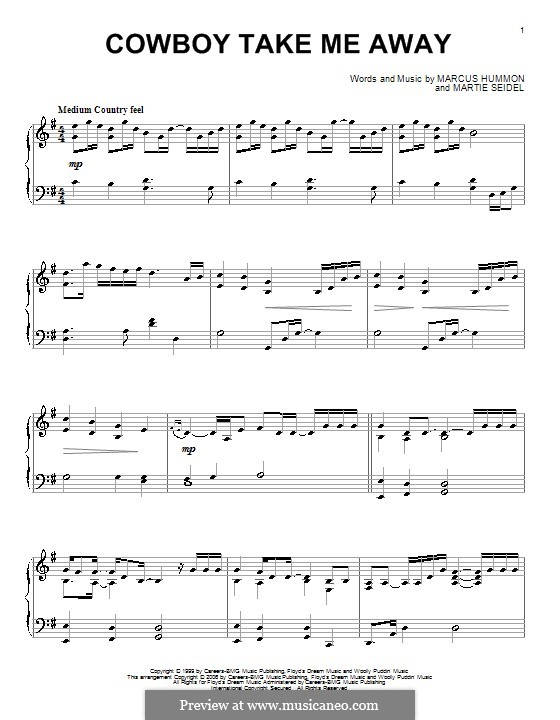 Cowboy Take Me Away (The Dixie Chicks) by M. Hummon, M. Seidel on ...