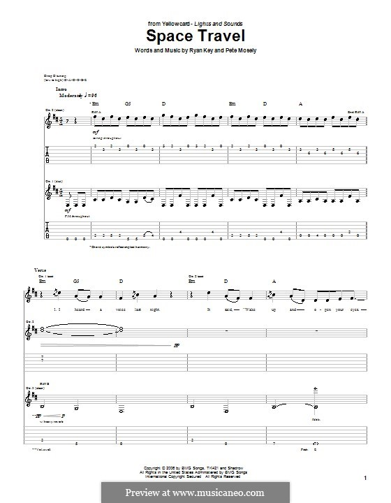 Space Travel (Yellowcard): For guitar with tab by Peter Mosely, Ryan Key