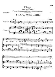 Klage (Lament), D.436: Klage (Lament) by Franz Schubert