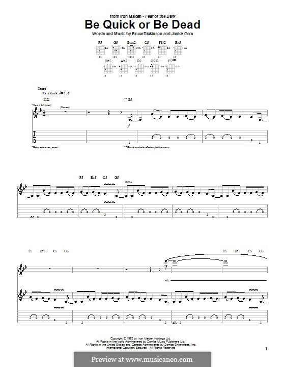 Be Quick or Be Dead (Iron Maiden): For guitar with tab by Bruce Dickinson, Janick Gers