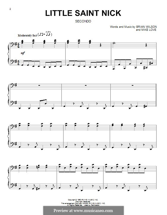 Little Saint Nick (The Beach Boys): For piano four hands by Brian Wilson, Mike Love