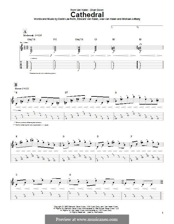 Cathedral (Van Halen): For guitar with tab by Alex Van Halen, Edward Van Halen, Michael Anthony