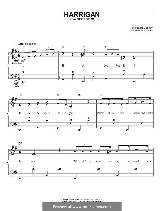 Harrigan: For accordion by George Michael Cohan
