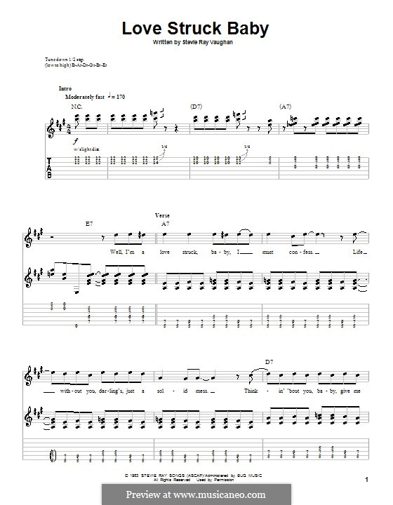 Love Struck Baby: For guitar with tab by Stevie Ray Vaughan