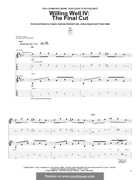 The Final Cut: For guitar with tab by Claudio Sanchez, Joshua Eppard, Michael Todd, Travis Stever