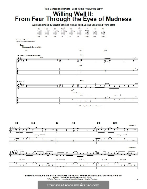 From Fear Through the Eyes of Madness: For guitar with tab by Claudio Sanchez, Joshua Eppard, Michael Todd, Travis Stever