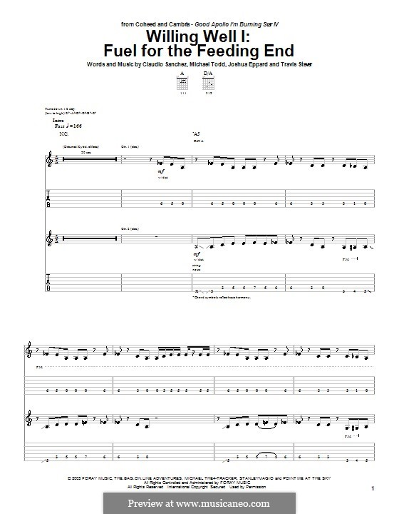 Fuel for the Feeding End: For guitar with tab by Claudio Sanchez, Joshua Eppard, Michael Todd, Travis Stever