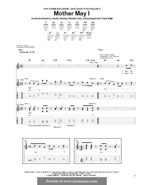 Mother May I (Coheed and Cambria): For guitar with tab by Claudio Sanchez, Joshua Eppard, Michael Todd, Travis Stever