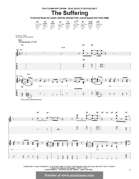 The Suffering (Coheed and Cambria): For guitar with tab by Claudio Sanchez, Joshua Eppard, Michael Todd, Travis Stever